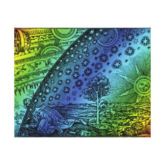 Cielo de Flammarion y grabado de la tierra Impresión En Lienzo