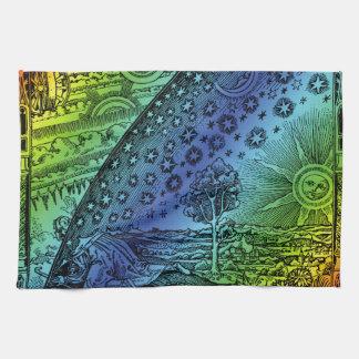 Cielo de Flammarion y grabado de la tierra Toalla
