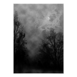Cielo de Halloween con el poster de los cuervos