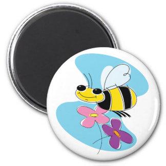 Cielo de la abeja de la primavera imán redondo 5 cm