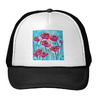 Cielo de la amapola - arte floral gorros bordados