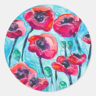 Cielo de la amapola - arte floral pegatina