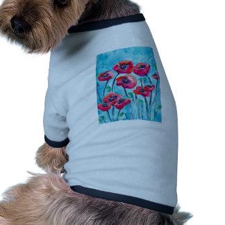 Cielo de la amapola - arte floral camisetas de perrito