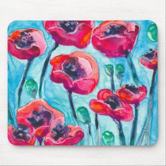 Cielo de la amapola - arte floral alfombrilla de raton