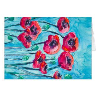 Cielo de la amapola - arte floral felicitacion