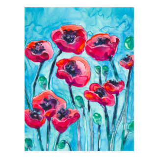 Cielo de la amapola - arte floral tarjeta postal