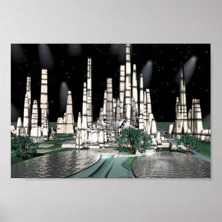 Cielo de la ciudad de Luna, ilustraciones del bryc Póster