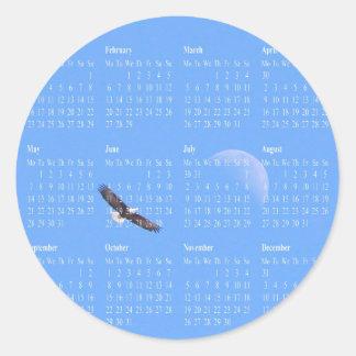 Cielo de la luna de Eagle Pegatina Redonda