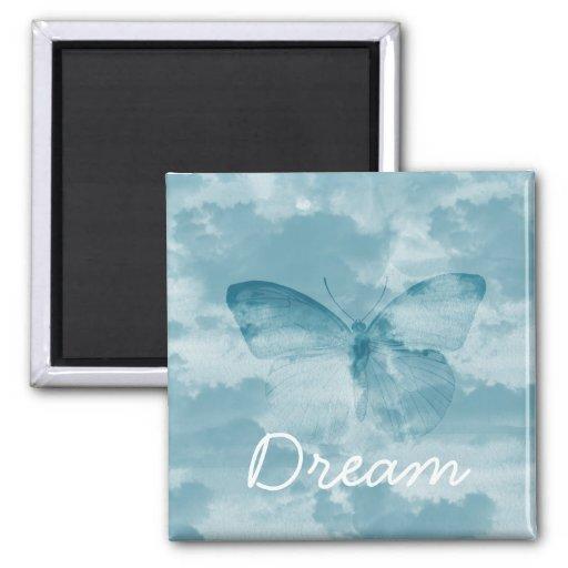 Cielo de la mariposa imán cuadrado