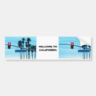 Cielo de la playa de California de la muestra de l Pegatina De Parachoque