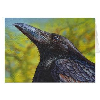 Cielo de la primavera del cuervo tarjeta de felicitación