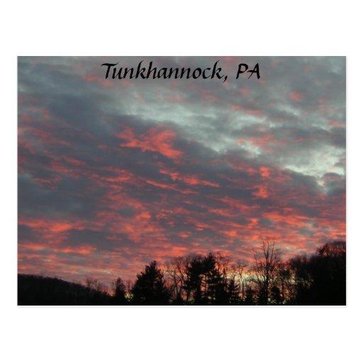 Cielo de la puesta del sol de Tunkhannock Postal