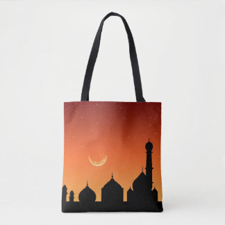 Cielo de la tarde de la silueta de la mezquita - bolsa de tela