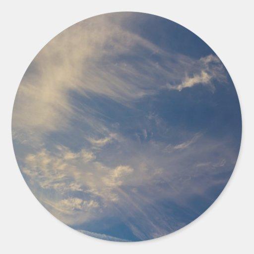 Cielo de la tarde pegatinas redondas
