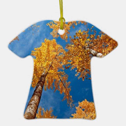 Cielo de maderas de Autums del árbol Adorno De Cerámica En Forma De Playera