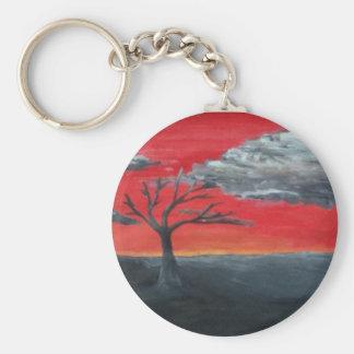 Cielo del escarlata llavero redondo tipo pin