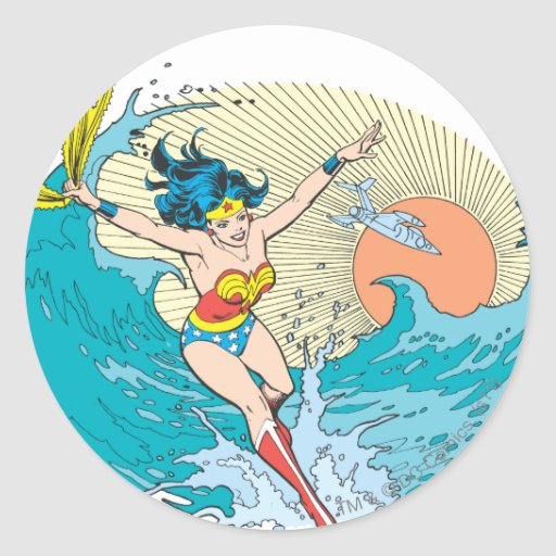 Cielo del océano de la Mujer Maravilla Pegatina Redonda
