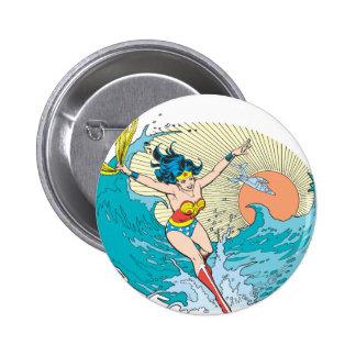 Cielo del océano de la Mujer Maravilla Pin Redondo De 2 Pulgadas