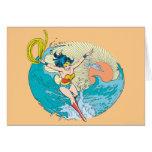 Cielo del océano de la Mujer Maravilla Tarjeta De Felicitación
