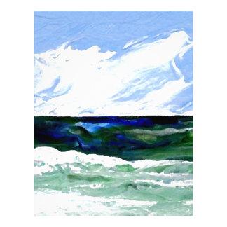 Cielo del paisaje marino del arte del océano de la membrete a diseño