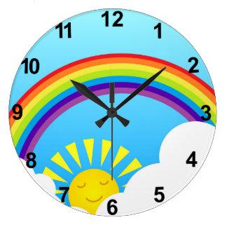 Cielo del verano reloj redondo grande