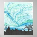 Cielo del verde azul póster