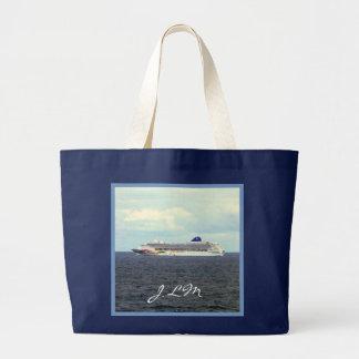 Cielo en cruzar con monograma del mar bolsa tela grande
