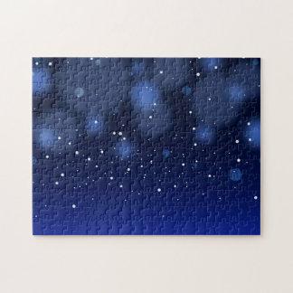 Cielo estrellado abstracto azul de Bokeh Rompecabezas