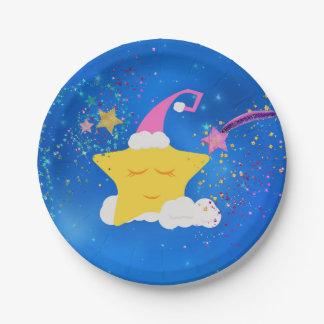 Cielo estrellado azul de la estrella soñolienta platos de papel