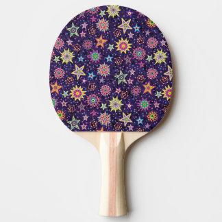 Cielo estrellado colorido del arte popular pala de tenis de mesa