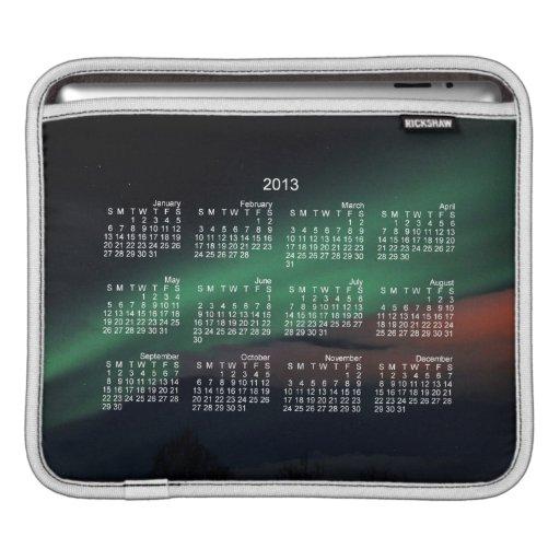 Cielo estrellado de la aurora boreal; Calendario 2 Fundas Para iPads