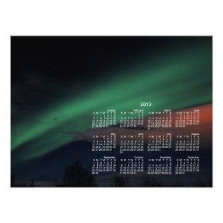 Cielo estrellado de la aurora boreal Calendario 2 Fotografías