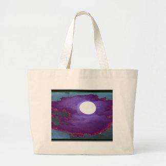 Cielo   hermoso del claro de luna bolsa tela grande