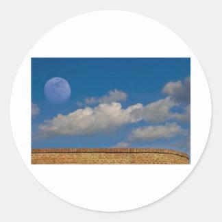 cielo luna pared etiquetas redondas