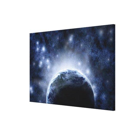 Cielo nocturno Airbrushed por completo de Impresión En Lienzo