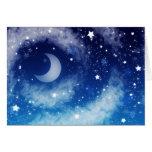 Cielo nocturno azul estrellado felicitacion