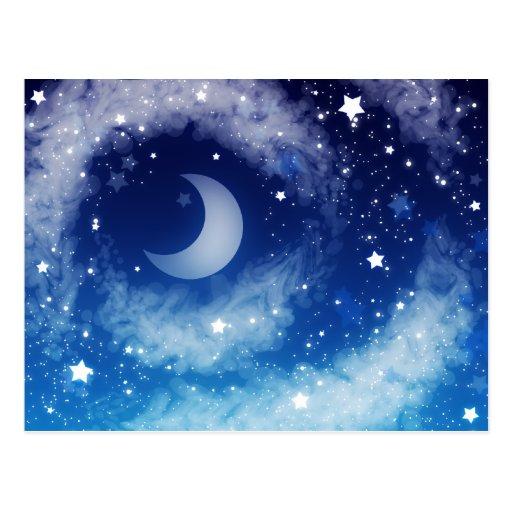 Cielo nocturno azul estrellado tarjetas postales