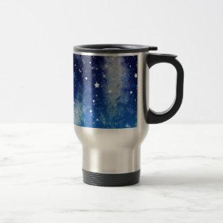Cielo nocturno azul estrellado taza