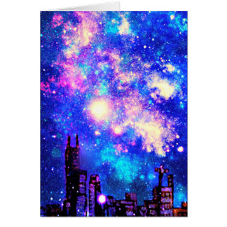 Cielo nocturno cómico del horizonte y de la vía tarjeta de felicitación