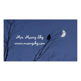 Cielo nocturno creciente de la luna tarjetas de visita
