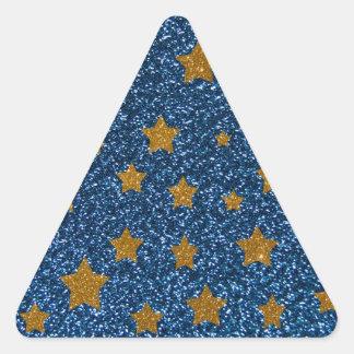Cielo nocturno del brillo pegatina triangular