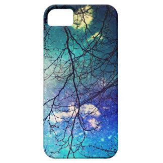 cielo nocturno del caso del iphone, árboles, estre iPhone 5 carcasas