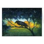 Cielo nocturno del cuervo tarjeta de felicitación