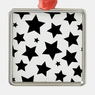 Cielo nocturno del efecto de la estrella múltiple adorno navideño cuadrado de metal