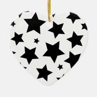 Cielo nocturno del efecto de la estrella múltiple adorno navideño de cerámica en forma de corazón