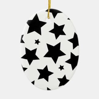 Cielo nocturno del efecto de la estrella múltiple adorno navideño ovalado de cerámica