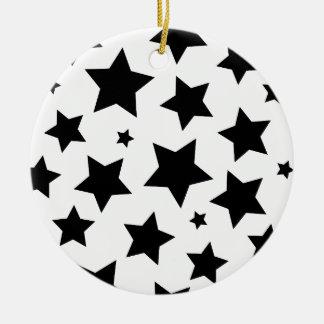 Cielo nocturno del efecto de la estrella múltiple adorno navideño redondo de cerámica