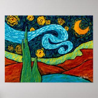 Cielo nocturno del Lit de la estrella Poster