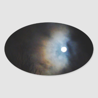 Cielo nocturno espeluznante pegatina ovalada