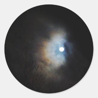 Cielo nocturno espeluznante pegatina redonda